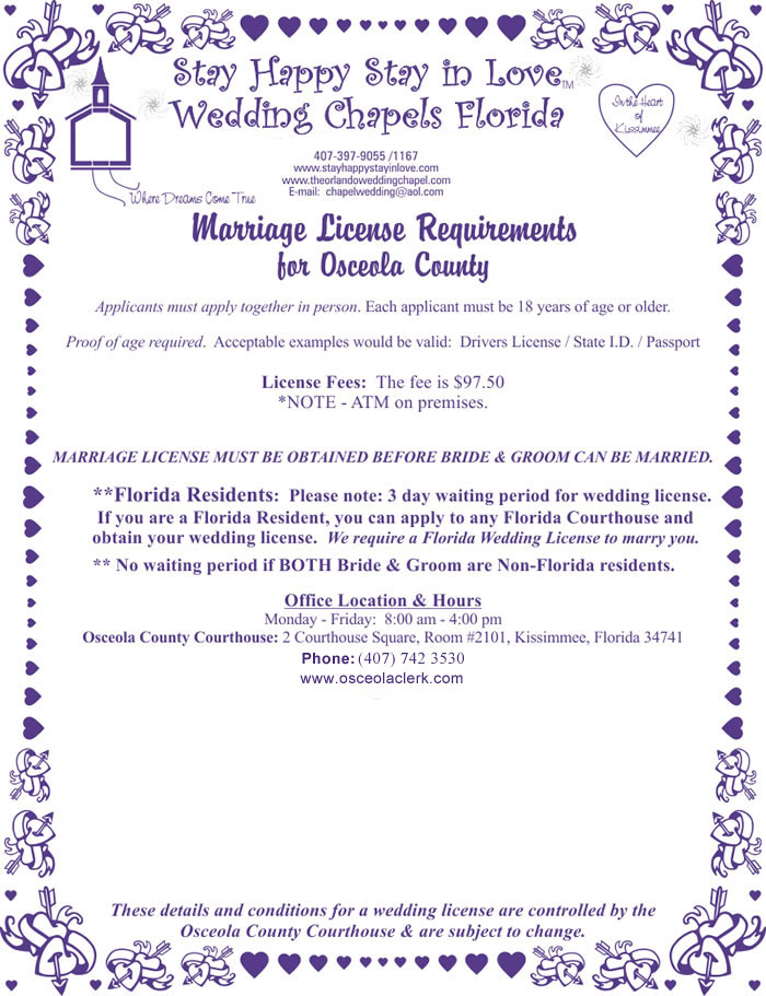 Marriage License Requirement for Osceola County Florida